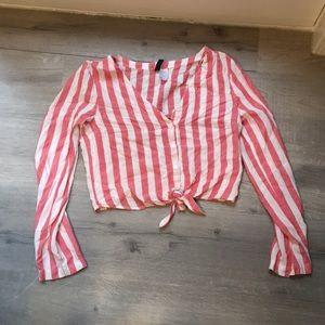 H&M cropped tie striped shirt